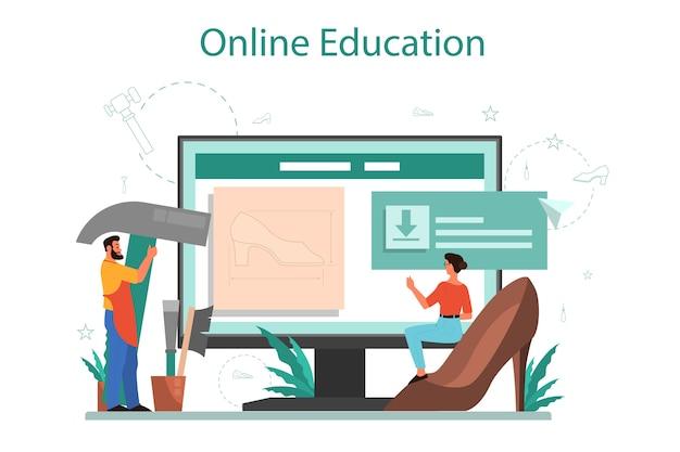 Schoenmaker online service of platform. mannelijk en vrouwelijk personage dat een schort herstellende schoen draagt. online onderwijs. geïsoleerde vectorillustratie
