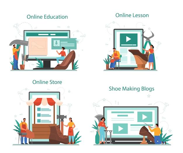 Schoenmaker online service of platformset. mannelijk en vrouwelijk personage dat een schort herstellende schoen draagt. online winkel, blog of online onderwijs en les. geïsoleerde vectorillustratie
