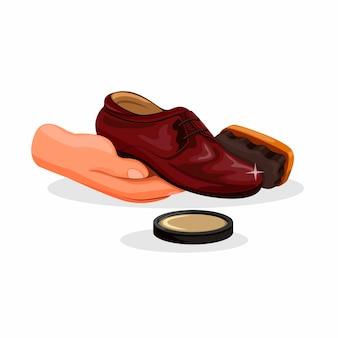 Schoenpoetsen. hand met schoen met borstel en pools gel symbool in cartoon afbeelding geïsoleerd op een witte achtergrond