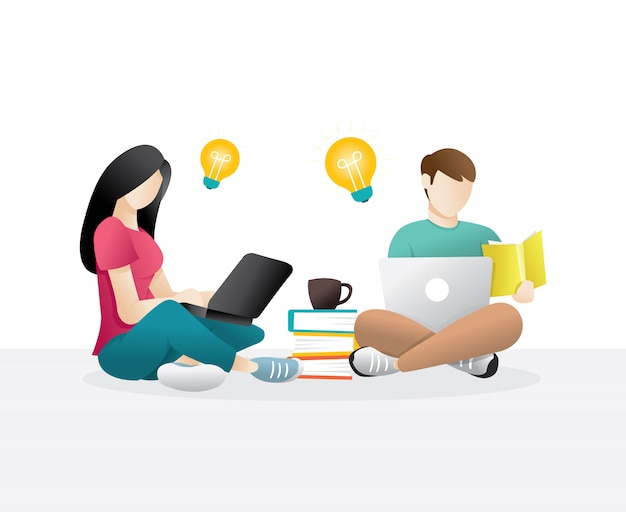 Scholieren, man en vrouw zitten met behulp van laptop