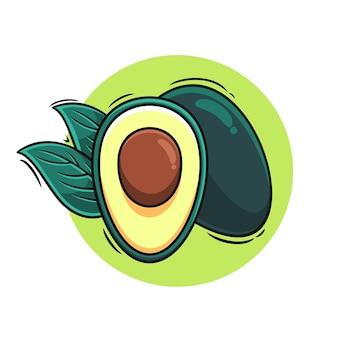 Schone avocado pictogram vectorillustratie voor sticker