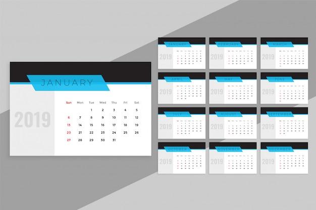 Schone blauwe 2019 kalendersjabloon