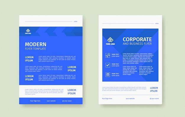 Schone blauwe flyer poster sjabloon set