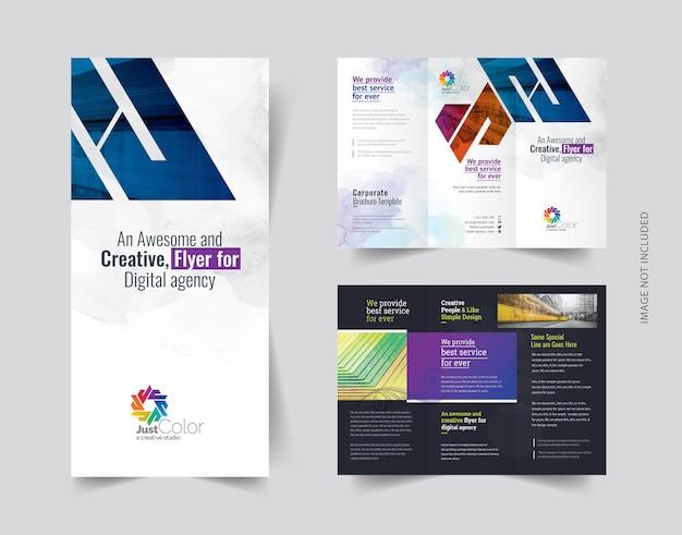 Schone driebladige brochure sjabloon