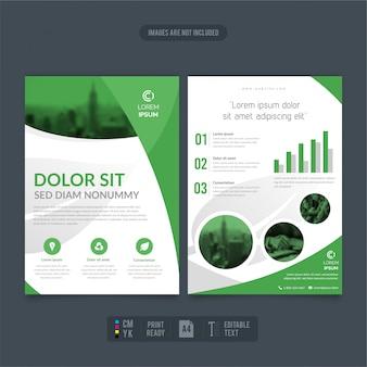 Schone en moderne milieuvriendelijke business flyer-rapporten