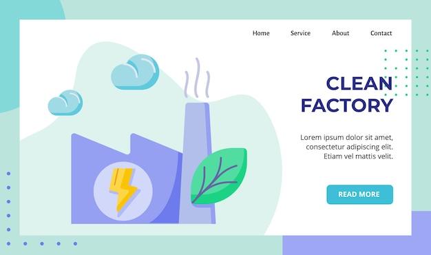 Schone fabriek stoot een campagne met lage vervuiling uit voor de webwebsite