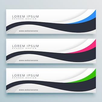 Schone golvende banner design sjabloon met drie kopteksten