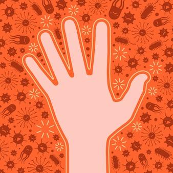 Schone hand beschermd tegen de virussen en bacteriën