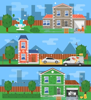 Schone huis vlakke stijl illustratie