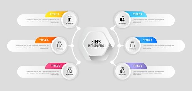 Schone infographic stappen sjabloon voor spandoek