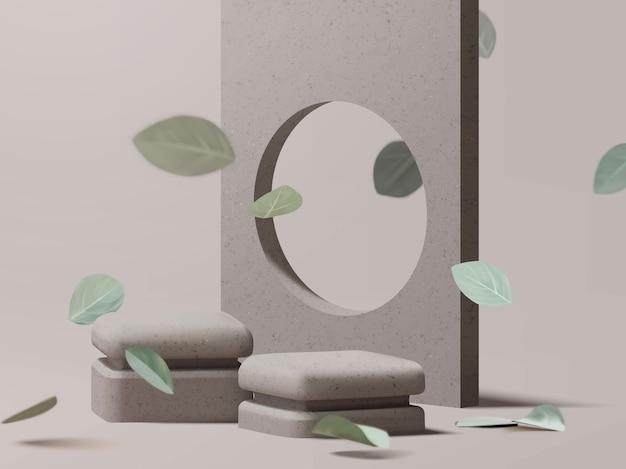 Schone minimale natuurlijke zen-stijl podiumscène
