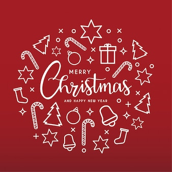 Schone prettige kerstdagen en gelukkig nieuwjaar wenskaart met pictogrammen