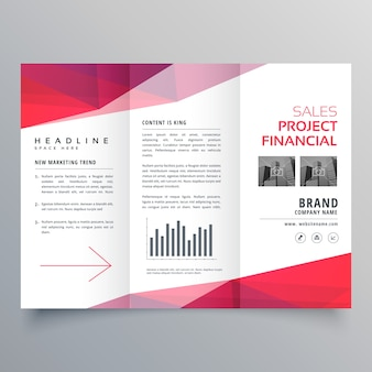 Schone rode driebladige zakelijke brochure ontwerpsjabloon