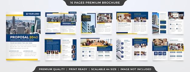 Schone tweevoudige brochuremalplaatje minimalistische stijl