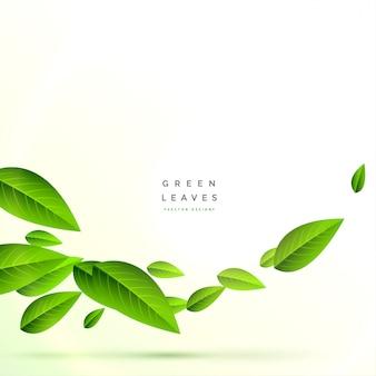 Schone vliegende groene bladerenachtergrond