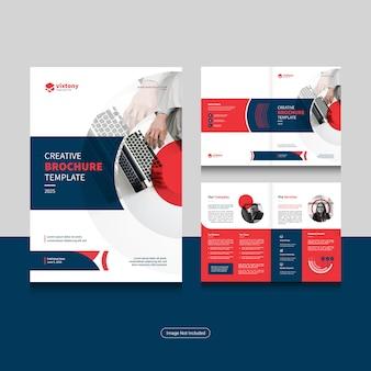 Schone zakelijke bi-fold zakelijke brochure ontwerpsjabloon in a4-formaat.