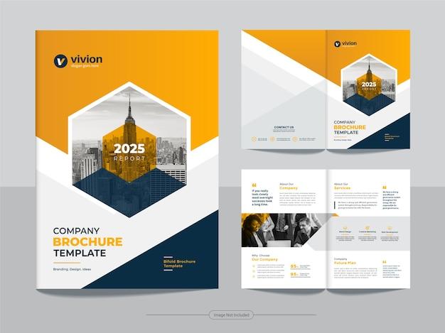 Schone zakelijke bi-fold zakelijke brochure ontwerpsjabloon met gele kleur voor de kleurovergang