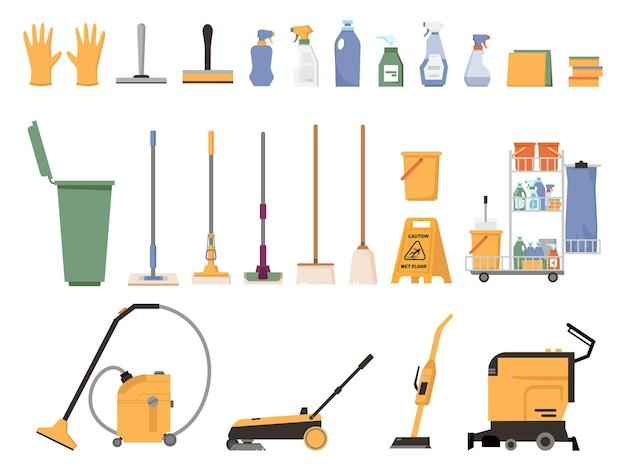 Schonere apparatuur geïsoleerde platte cartoon set schoonmaakbenodigdheden accessoires vector stofzuiger