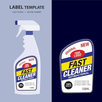 Schonere, wasmiddel fles label, toilet of gootsteen schoner, creatieve pakket banner ontwerpsjabloon.