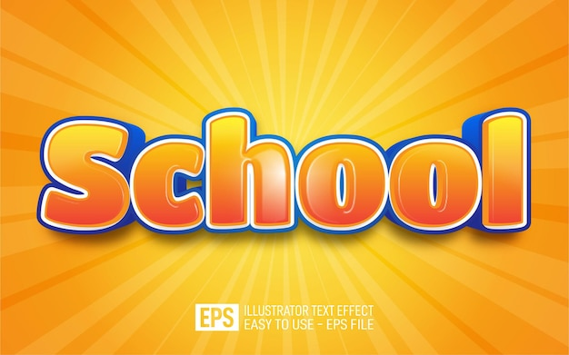 School 3d-tekst bewerkbare stijleffectsjabloon