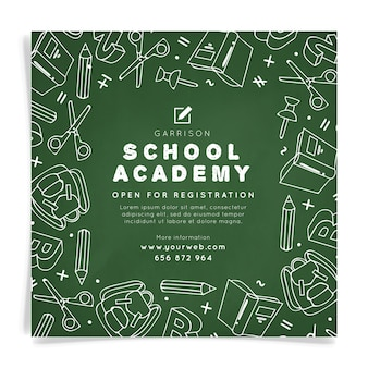 School academie vierkante flyer-sjabloon