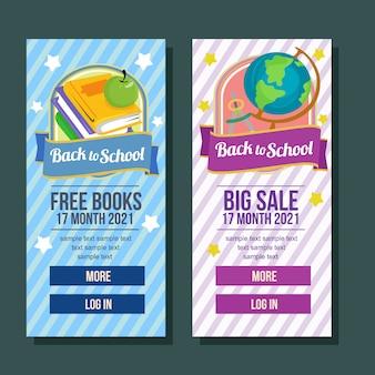 School banner verticale boek grote verkoop vlakke stijl