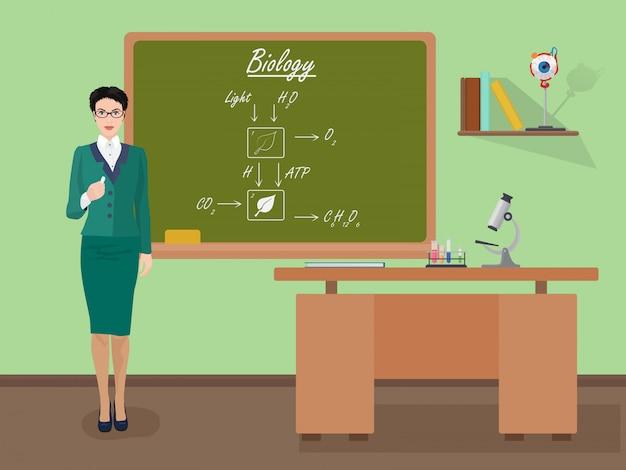 School biology vrouwelijke leraar