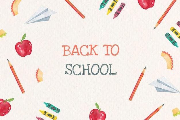 School briefpapier bewerkbare sjabloon vector in aquarel terug naar school banner