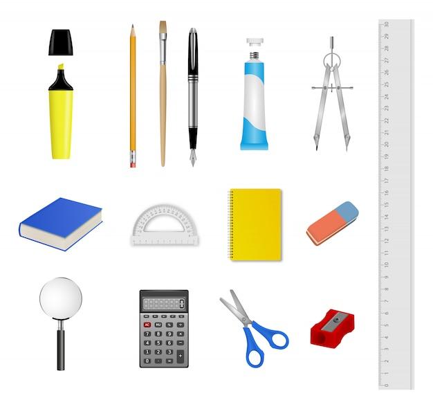 School briefpapier set. verzameling van realistische school- en kantoorbenodigdheden