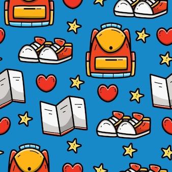 School cartoon doodle naadloze patroon ontwerp
