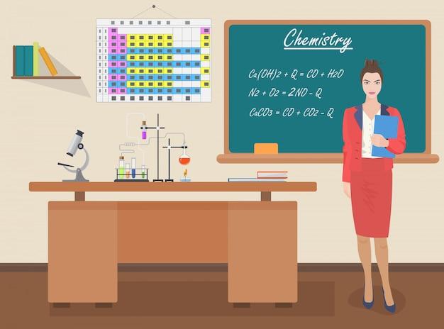 School chemie vrouwelijke leraar
