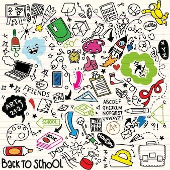 School clipart. doodle school pictogrammen en symbolen. handgetekende onderwijsobjecten