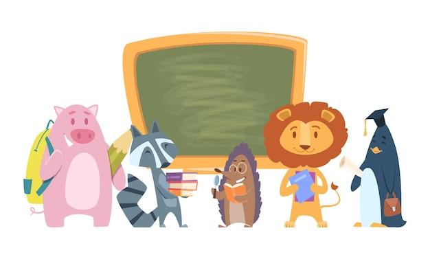 School dieren. terug naar school stripfiguren.