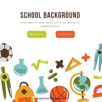 School elementen achtergrond in de hand getrokken stijl
