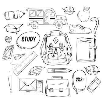 School elementen in doodle stijl