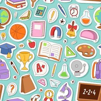 School elementen naadloos patroon.