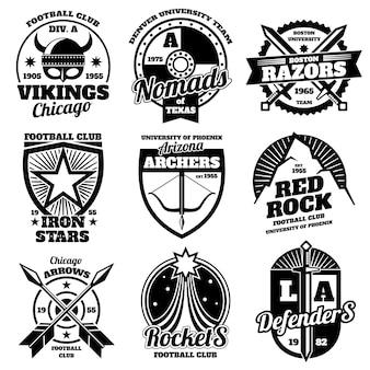 School emblemen, college atletische teams sport labels, t-shirt grafische vector collectie