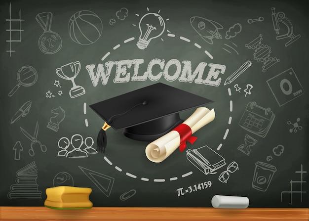 School en leren, terug naar schoolachtergrond