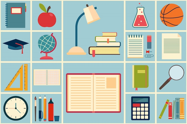 School en onderwijs pictogrammen instellen