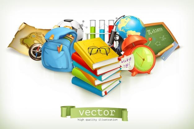 School en onderwijs, vectorillustratie geïsoleerd op wit