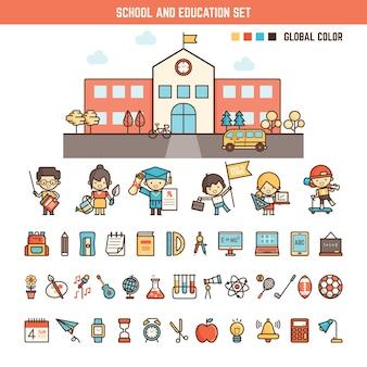 School en onderwijsinfographicselementen voor jong geitje
