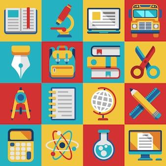 School en universiteit onderwijs moderne vlakke pictogrammen