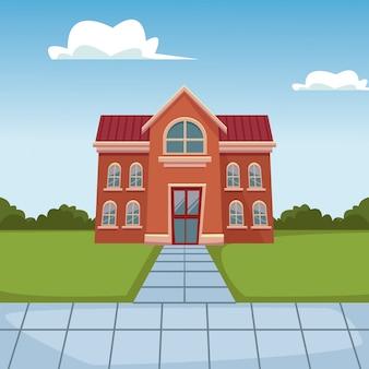 School gebouw cartoon