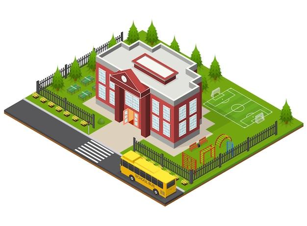 School gebouw isometrische weergave stedelijk onderwijs architectuur moderne exterieur gevel voor web. vector illustratie