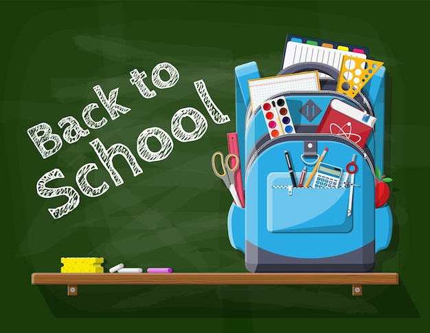 School groen bord met rugzak. kantoorbenodigdheden in studententas. boeken, verf, appel, rekenmachine, pen, potlood, liniaal. onderwijs en studie leren. vectorillustratie in vlakke stijl
