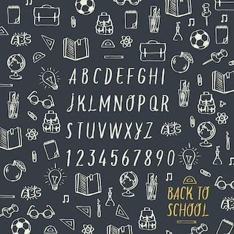 School hand tekenen krijt geschreven lettertype terug naar school vector afbeelding