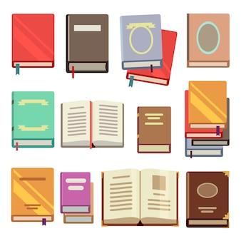 School handboek ingesteld in vlakke stijl