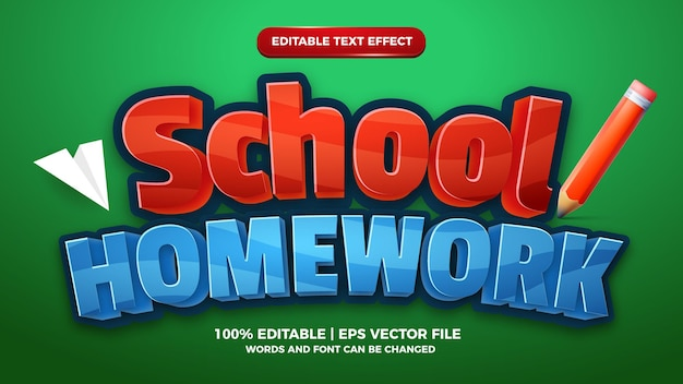 School huiswerk kinderen cartoon komisch spel bewerkbare teksteffect stijlsjabloon