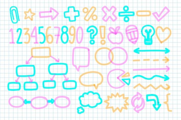School infographic elementen in kleurrijke markers pack