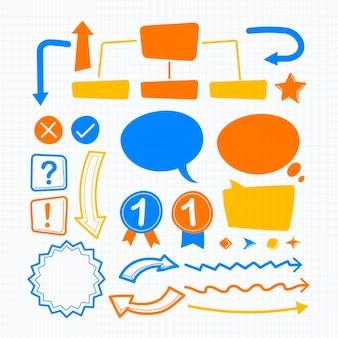 School infographic elementen instellen met kleurrijke markeringen
